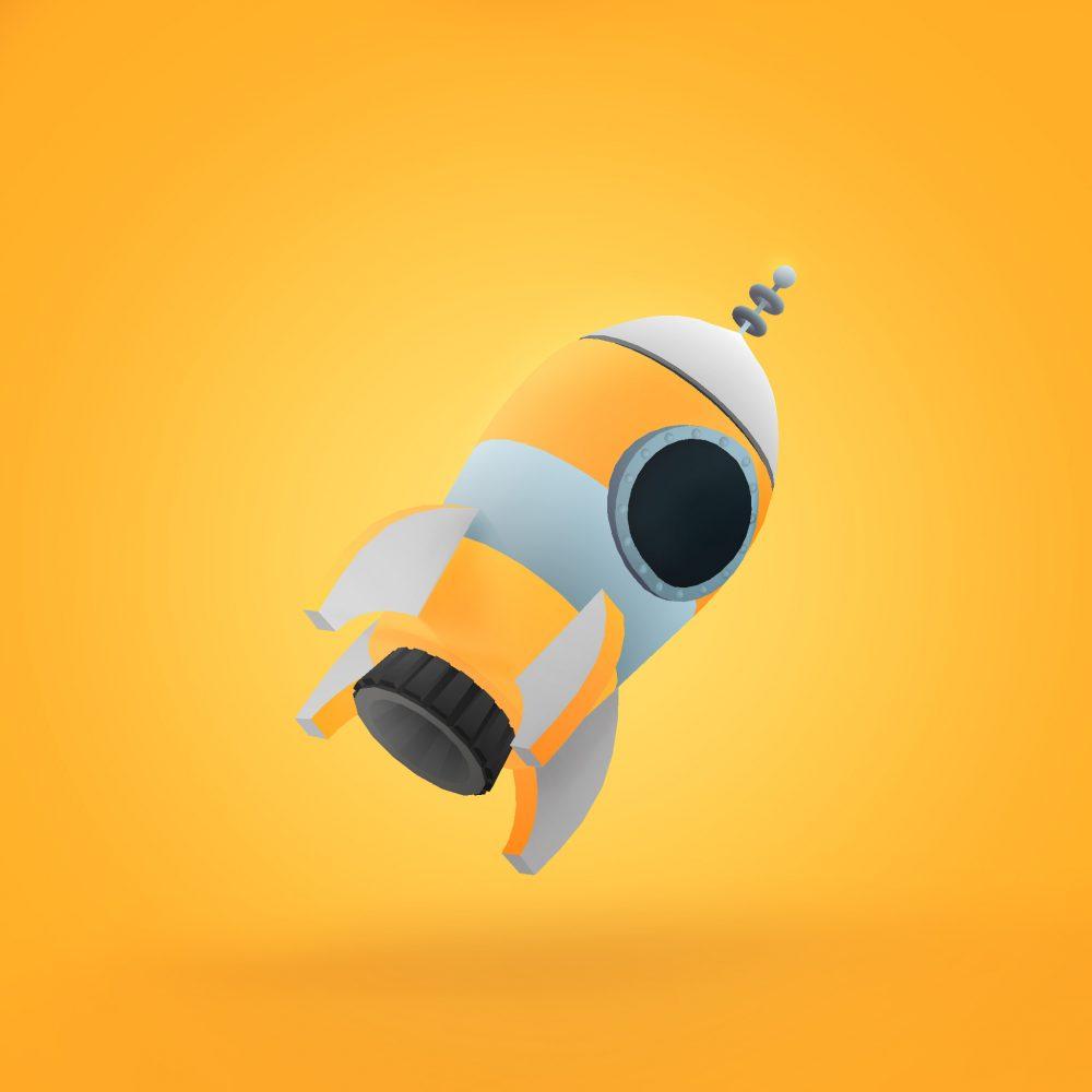 yellow-rocket-planetino-3d-blender-unity